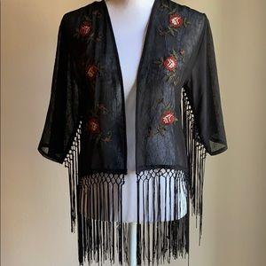 BEAUTIFUL Embroidered Tassle Kimono, Coverup Sz S